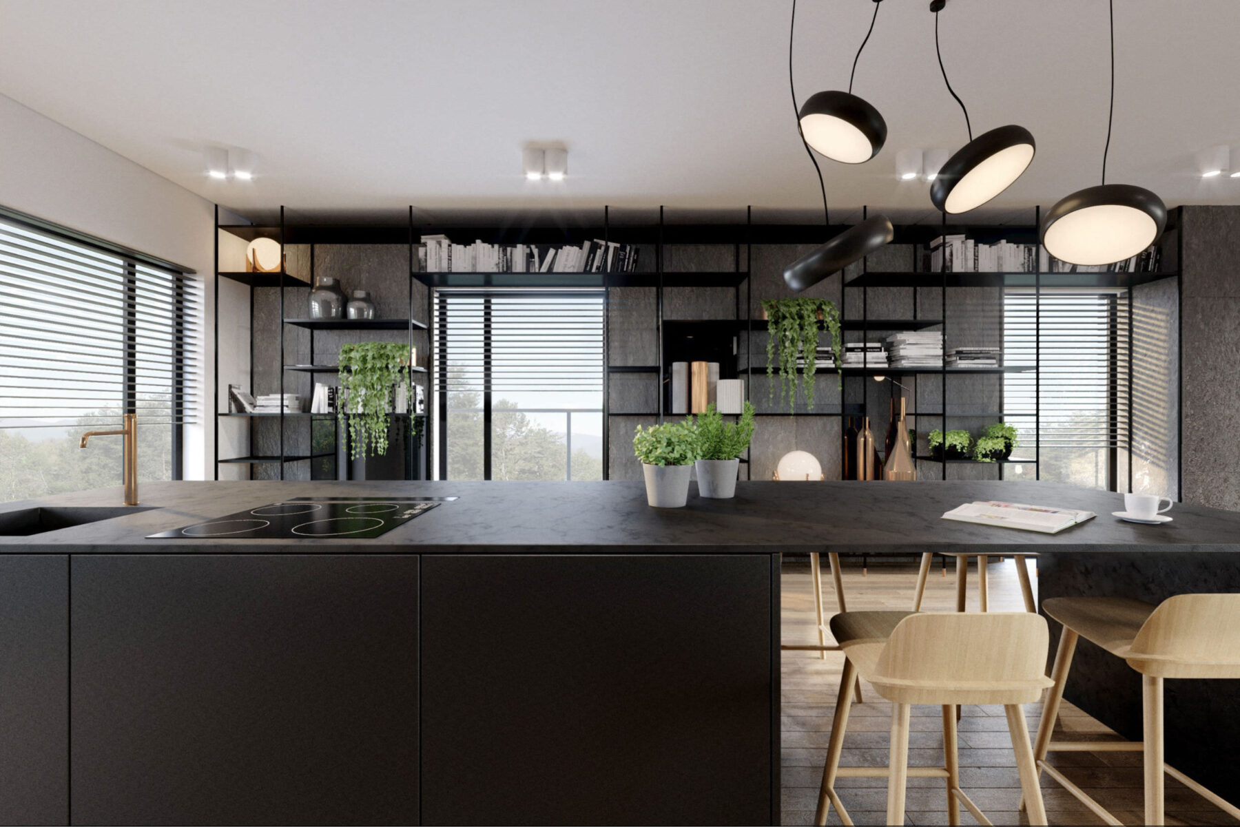 Apartament cuprum kando architects for Cocinas con granito negro